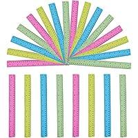Lineal - 24er Set Transparente Farbige 30cm Lineale - Durchsichtige Lineale zum Basteln, Schulbedarf, Office, Messlineal in 4 Farben Pink, Blau, Neon Gelb und Grün