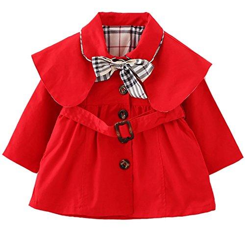 [Trenchcoat Baby Mädchen] Schleife Gürtel Mantel mit Umhang Jacke Baumwolle Frühling Herbst Windbreaker Mode Oberbekleidung Outerwear Rot XL