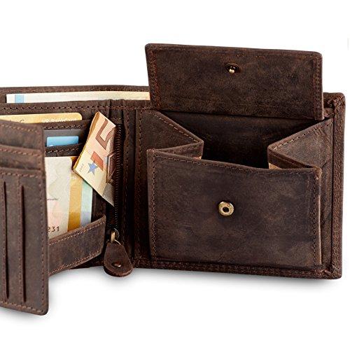Geldbörse für Herren aus Leder mit 100% Zufriedenheitsgarantie | Geldbeutel / Portemonnaie in Geschenkbox | Geschenke für Männer | Wallet / Portmonee / Brieftasche im Querformat - BRAUN - 3
