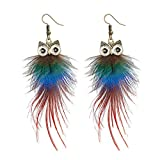 Kongnijiwa 1 Paar Fashion Lady Handgemachte Ohrringe mit Eulen-Feder-Tier-Anhänger für Geschenk-Partei Dangel Ohrringe