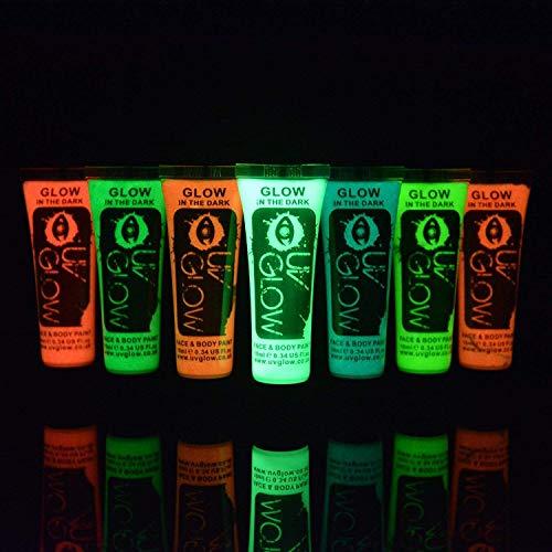 UV Glow 7 x 10ml Körpermalfarben Phosphoreszierende Selbstleuchtende Leuchtfarben Nachtleuchtende 'Glow in The Dark' Schminke Bodypaint (Körper Glow Dark-farbe The In Für)