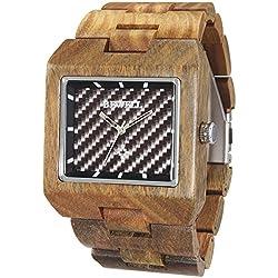 Alienwork Quartz Watch natural solid wood Wristwatch Handmade Green sandalwood black brown UM016A-01