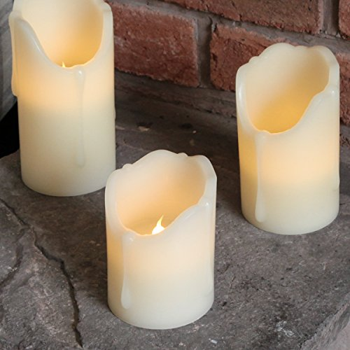3flackernde velas LED de cera auténtica, funciona con pilas, con temporizador, de Festive Lights