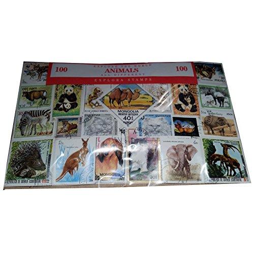Tiere der Welt, weltweit Collectible set 100Stück Briefmarken. Souvenir/Speicher/MEMORIA. 100verschiedene Historische Briefmarken. timbre-poste/Briefmarke/francobollo/Sello (Einkaufszentrum) de CORREOS.