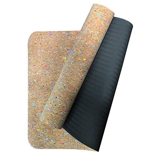 Boshiho Esterilla ecológica de corcho y TPE para yoga y pilates, Multicolor