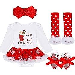 Freebily Vestido de Navidad Fiesta Princesa para Bebé Niña Disfraz Conjunto de Navidad Bautizo Ceremonia para Recién Nacido Media de Navidad 3-6 Meses