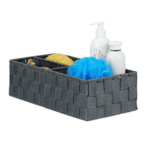 Relaxdays Aufbewahrungskorb klein, rechteckige Stoffbox mit 3 Fächern, Badorganizer Korb, PP, HBT: 10,5x35,5x17cm, grau
