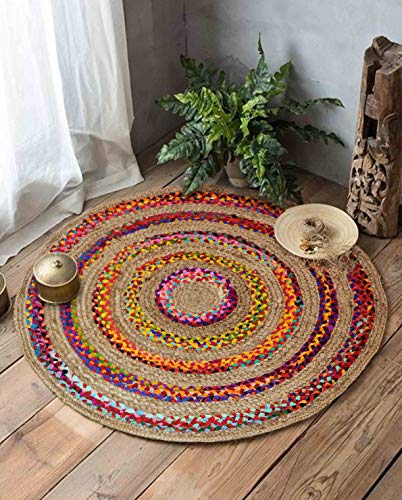 The Home Talk Cotton and Jute Braided Floor Rug, Boho Multicolor Bedside Runner Carpet for Bedroom Living Room, 95 cm Round - Multicolor