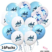 ‏‪16Pcs Shark Confetti Balloons - Under the Sea/Beach/Kids Baby Shower/Birthday Party Decorations Shark Theme party Supplies‬‏