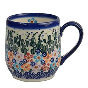 Traditional Polish Pottery, Handcrafted Ceramic Tulip-shaped Mug (300ml / 10.5 fl oz), Boleslawiec Style Pattern, Q.901.DAISY