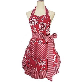 HANERDUN Kochschürze Frauen Damen Schürze Küchenschürze Rot und Schwarz/&rot
