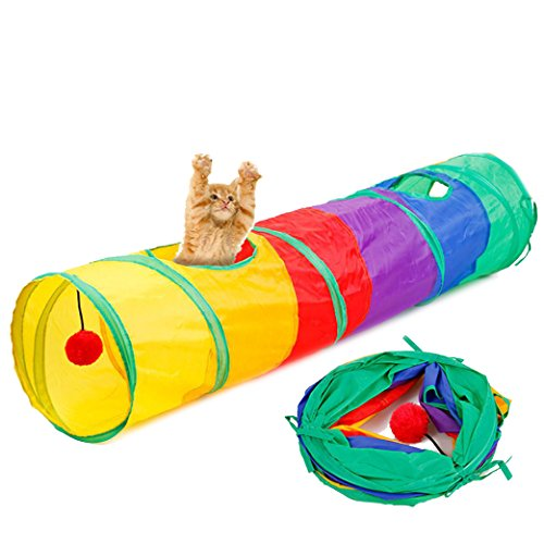 túnel gato, Sannysis Tienda túnel túneles plegables túnel carpiano Túnel para mascotas Túnel de gato Juguete con pelota Jugar juguete divertido Pet Tunnel (Multicolor)