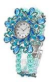 Damenuhren türkis Analoges Quarz Uhrenwerk Flexibles Perlen-Armband