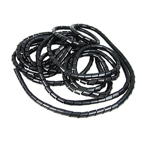 Heitronic Câble spirale tuyau Ø4 mm intérieur, 6-25 mm de diamètre extérieur, rouleau de 10 m, noir