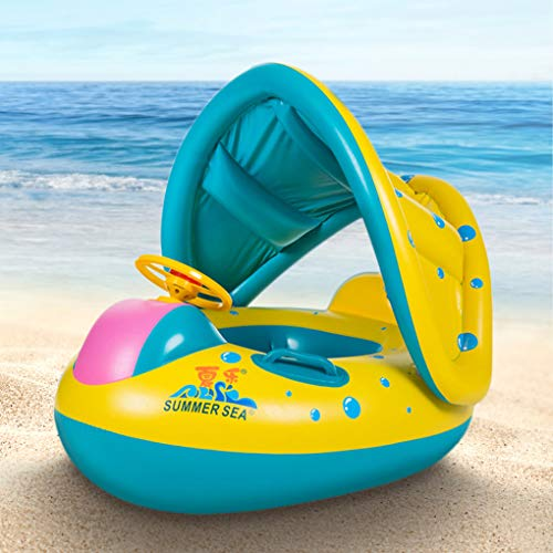 Oziral Barca per Bebè gonfiabili Piscina Baby Salvagente Bambini Float con Parasole per 6-36 Mesi Toddler Kids Child