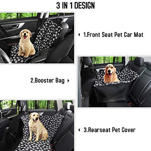 Funpet Hunde Autositz Wasserdichte Haustier Autoschondecke mit Hund Sicherheitsgurt, Hundekorb für Rückbank Vordersitz Hund Sitzbezug Hundedecke Hunde Autoschondecke (68 x 57 x 33 CM)