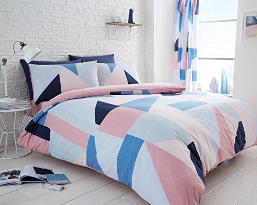BeddingHome Bettdecke Sydney Terrazzo Dreieck Quilt-Bettwäsche-Set mit Kissenbezug und komplett Set, Sydney Blue, Signle - Blues Dreieck