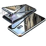 Jonwelsy Kompatibel für Samsung Galaxy S9 Plus (6,2 Zoll) Hülle, 360 Grad Vorne und Hinten Gehärtetes Glas Transparente Case Cover, Stark Magnetische Adsorption Metallrahmen Handyhülle