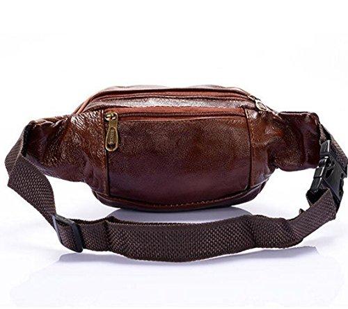 Herren Leder Bauchtasche Tasche UmhängetascheHandtasche Ledertasche Vintage Neu Gürteltasche Sporttasche braun