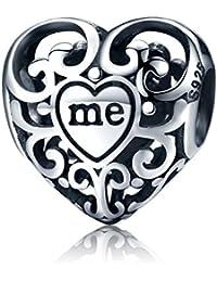 25 Argent Cœur Charm Perle pour Bracelet Bijoux Livré dans un Coffret Cadeau