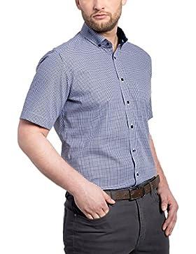 ETERNA Modern Fit Hemd Halbarm Button Down Kragen Karo dunkelblau
