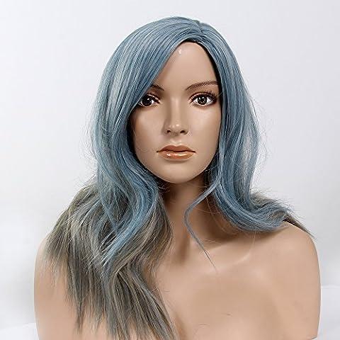 Stfantasy des Perruques pour femme Long Naturel vague de chaleur Conviviale Cheveux synthétiques 50,8cm 186G avec frange Perruque Peluca gratuit Cheveux Net + Clips Gris argenté mixte Bleu clair