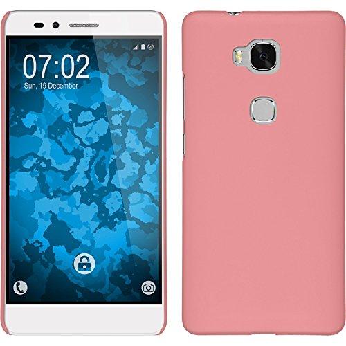 PhoneNatic Case kompatibel mit Huawei Honor 5X - Hülle rosa gummiert Hard-case Cover 5 X Hard Case