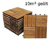 SAM Terrassenfliese 02 Akazienholz, FSC® 100%, 110er Spar-Set für 10m², 30x30cm, Bodenbelag mit Drainage, Klickfliesen