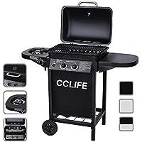 CCLIFE Barbecue à gaz (2+1 brûleurs ou 2 Brûleurs) Barbecue en acier de couleur noir/argent, Größe:2+1 Schwarz