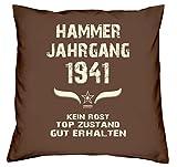 Soreso Design Kissen & Urkunde :+: Geschenk 77 Geburtstag :+: Hammer Jahrgang 1941 Geburtstagsgeschenk Farbe: braun