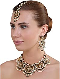Designer Kundan Necklace With Earrings And Mangtikka Set By Jwells And More
