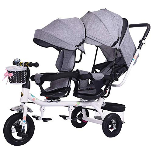 -Kinderwagen, verdoppelt Fahrräder , Zwillinge Babytrolley 1-6 Jahre altes Babyauto , Sitz kann um 360 ° gedreht werden ()