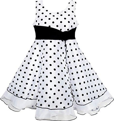 Sunboree Mädchen Kleid Schwarz Weiß Punkt Tüll Festzug Gr.98-104