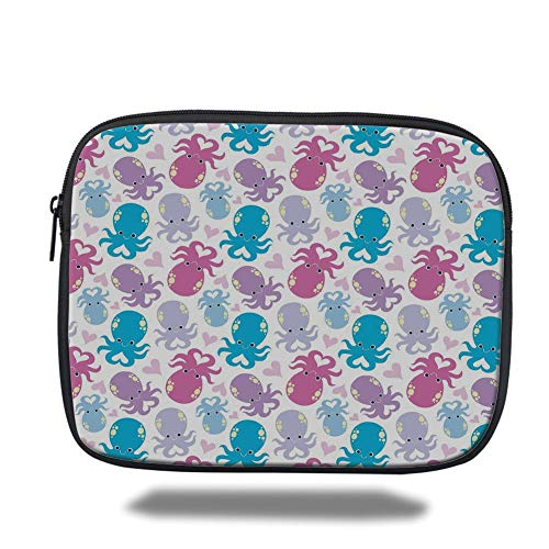Tablet Bag for Ipad air 2/3/4/mini 9.7 inch,Octopus,Cute Cartoon Marine Animals with Heart Shapes Love Themed Image,Lilac Pink Blue,3D Print