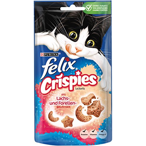 Felix Crispies Katzensnack, Lachs und Forellengeschmack, 8er Pack (8 x 45 g)