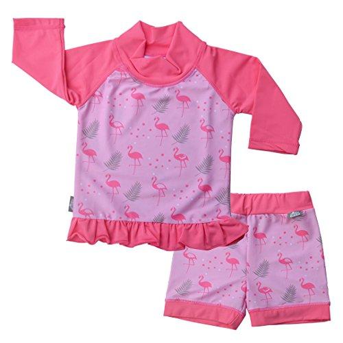 Jan & Jul Baby Kleinkind Kinder Ausschlag Schutz UPF 50 Sonnenschutz Shirt und Shorts Set (XXL: 5 – 8Y, Flamingo)