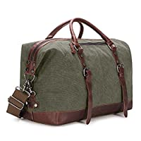 Kattee Canvas Travel Duffle, Holdall Overnight Weekend Bag, Army Green, Large