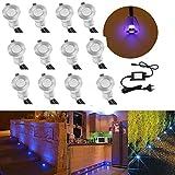 FVTLED mini Bodeneinbaustrahler Set DC12V Ø19mm 0.4W LED Einbaustrahler IP67 Wasserdicht Einbauleuchten Außen Terrasse Küche Garten Led Lampe (12er, Blau)
