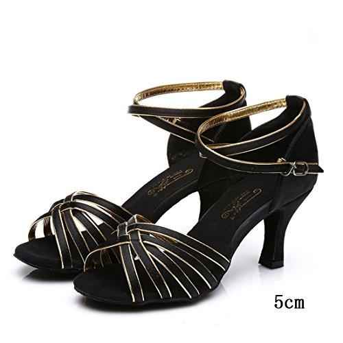 Wxmddn Latin Femmes Chaussures De Danse Chaussures De Danse En Noir 5cm À Talons Hauts Chaussures De Danse, Fond Mou De Maison Chaussures De Danse Noir À Phnom Penh 5cm