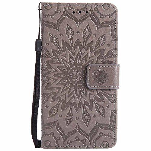 Dfly G6 Hülle, Premium Slim PU Leder Mandala Blume prägung Muster Flip Hülle Bookstyle Stand Slot Schutzhülle Tasche Wallet Case für LG G6, Grau
