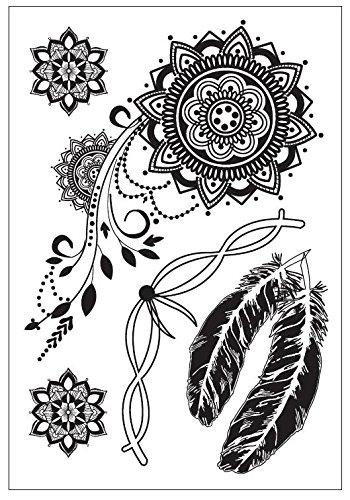 PLUME ET MANDALA NOIR tatouages temporaires au henné pour le main et corps black55