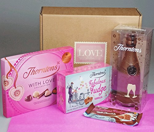Thorntons Love Collection - Valentine's Day Gift - NEW for 2108 - Thorntons Fudge, Chocolate Selection, Thorntons Chocolate Champagne Bottle - By Moreton Gifts