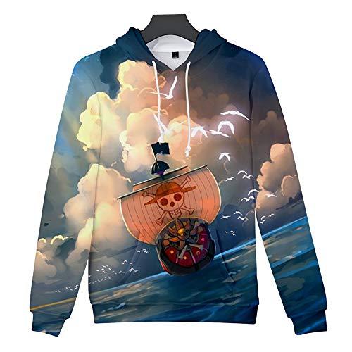 Dwygx Klassische 3D-Druck Unisex Rundhals Hoodie Sweatshirt Anime Neuheit Kordelzug Cosplay Baumwollprodukte Alltagskleidung One Piece S (Vor Allem Kreuzfahrten Halloween)