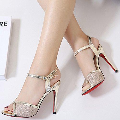 Oasap Women's Fashion Peep Toe Slingback High Heels Ankle Strap Sandals Black