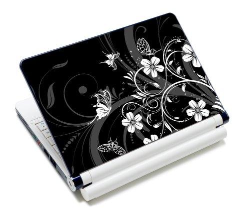 wortek Universal Laptop Aufkleber für Notebooks bis ca. 13,3 Zoll - Schmetterling Ranke Schwarz Weiß (Laptop Aufkleber Sony Vaio)