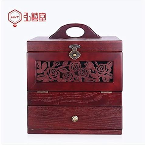 XYLUCKY Retro creux en bois sculpté cosmétiques cas cosmétiques stockage Box Portable Princess avec boîte à bijoux miroir