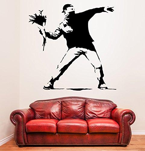 (100 cm x 99 cm Protest, Vinyl, Banksy Flower Thrower Graffiti/Street Art decor Wandaufkleber, Abnehmbare DIY Wandsticker, Vinyl, mit Home-Muster, Geschenkbox -