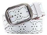 Aivtalk Large Ceinture Femme Cuir pour Jeans Pantalon Ronde Boucle Evidé Ceinturon Longeur 110cm - Blanc