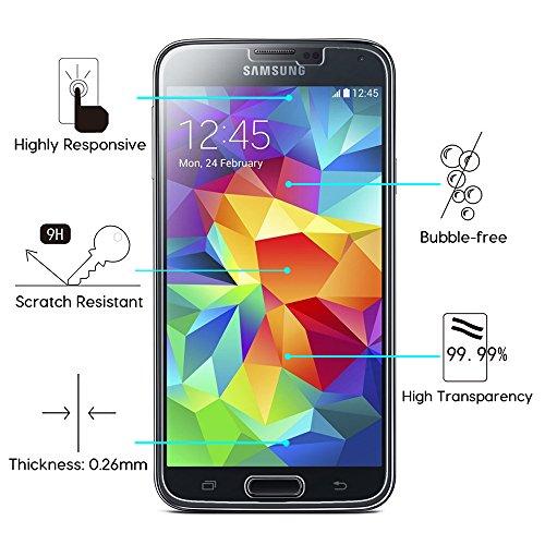 [2 Stück] OMOTON Panzerglas Displayschutzfolie für Samsung Galaxy S5, Anti-Kratzen, Anti-Öl, Anti-Bläschen, lebenslange Garantie - 2