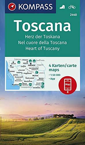 KOMPASS Wanderkarte Toscana, Herz der Toskana, Nel cuore della Toscana, Heart of Tuscany: 4 Wanderkarten 1:50000 im Set inklusive Karte zur offline ... 1:50 000 (KOMPASS-Wanderkarten, Band 2440)